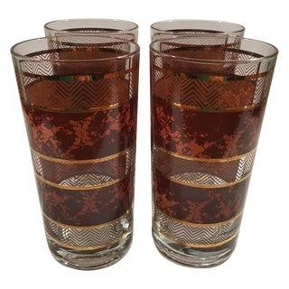 Vintage Brown and Gold Banded Glasses - Set of 4