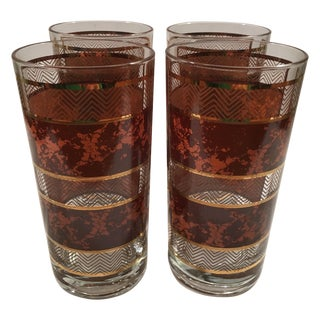 Vintage Brown and Gold Banded Glasses - Set of 4