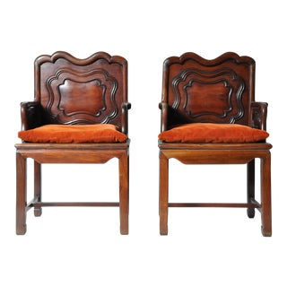 Pair of Chinese Hardwood Armchairs
