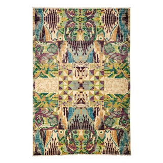 "Ikat, Hand Knotted Area Rug - 6' 1"" X 8' 10"""