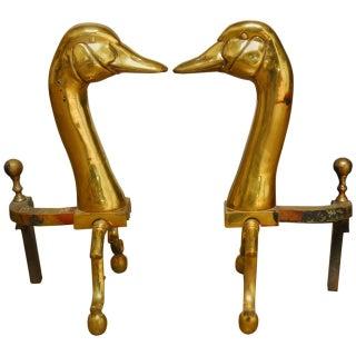 Brass Duck Goose Andirons - A Pair