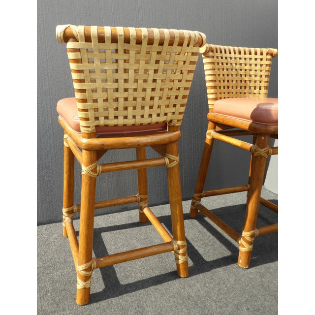 McGuire Bamboo Barstools with Laced Rawhide - Set of 3 - Image 6 of 11