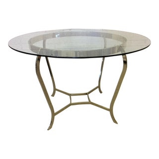 Contemporary Round Brass & Glass Dining Center Game Table