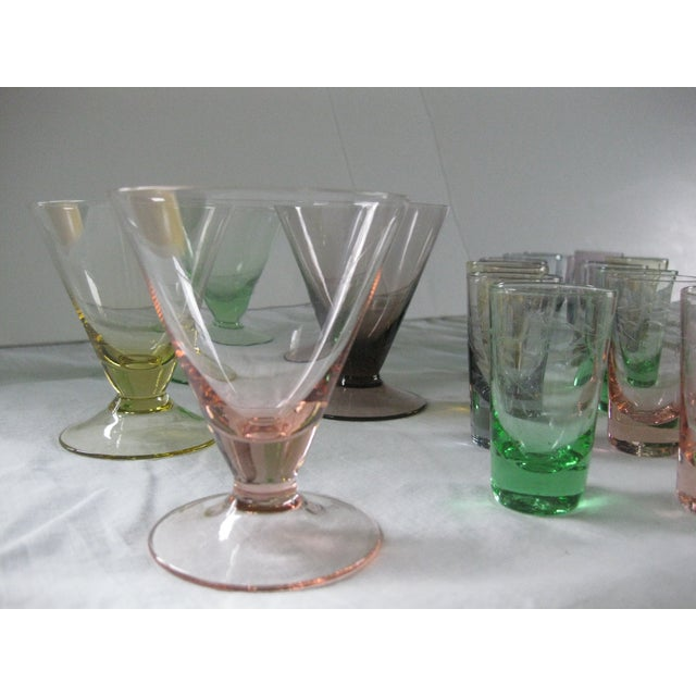 Image of Vintage Multi-Colored Cocktail Glasses - 23 Pieces
