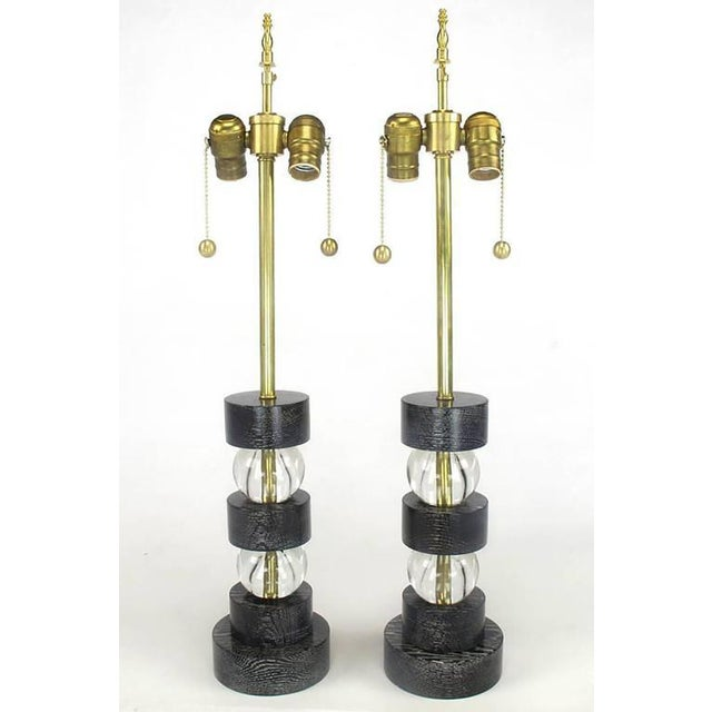 Black Cerused Oak and Crystal Ball Segmented Table Lamps - Image 2 of 4
