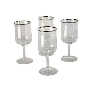 Vintage Silver Rimmed Wine Stems - Set of 4