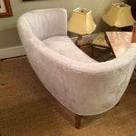 Image of 1940s Curved Grey Suede Loveseat