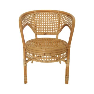 Rattan And Bamboo Club Style Chair