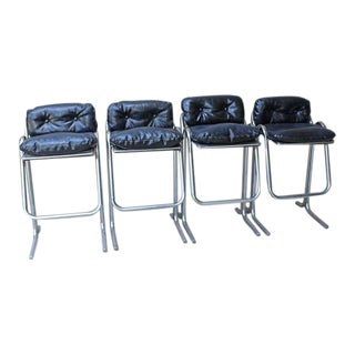 Jerry Johnson Tubular Chrome Bar Stools - Set of 4