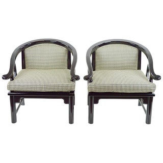 Vintage Modern Black Chinoiserie Chairs - Pair