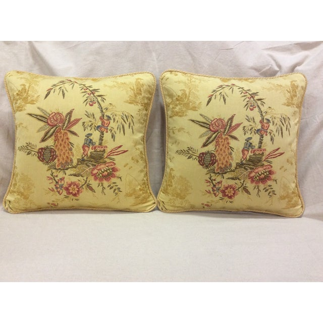 Yellow Floral Design Pillows - Pair - Image 3 of 9