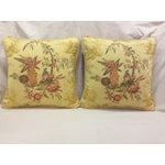 Image of Yellow Floral Design Pillows - Pair