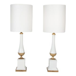 Pair of Porcelain and Gilt Ceramic Table Lamps, 1960s