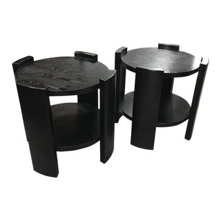 French Art Deco Solid Ebonized Cerused Oak Coffee Tables - A Pair