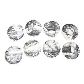 Mid-century Piero Fornasetti Porcelain Coasters Adam or Bareware - Set of 8