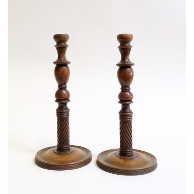 Image of Carved Wood Candle Holders - A Pair