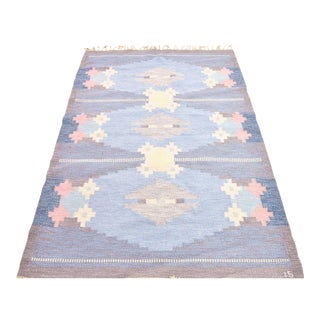 Vintage Handwoven Flat Weave Rug - 4′6″ × 6′8″