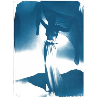 50's Fashion Photograph Cyanotype Print