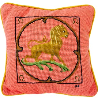 "Vintage Needlepoint ""Leo"" Lion Pillow"