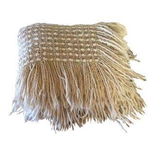 Natural Wool Woven Throw With Fringe