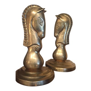 Mid-Century Hollywood/Brass Horse Bookends - A Pair