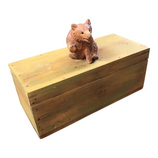 Vintage Wooden Box With Carved Bear