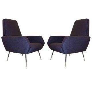 Pair of Shapely Dark Blue Armchairs, Italian, 1950s