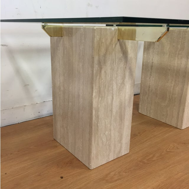 Travertine Brass and Glass End Tables - A Pair - Image 6 of 9