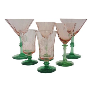 Pink & Green Watermelon Stemware - Set of 6