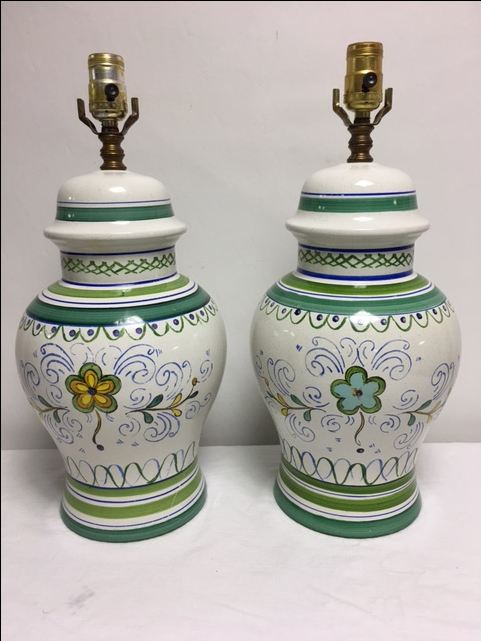 Vintage Italian Hand Painted Lamps - Pair : Chairish