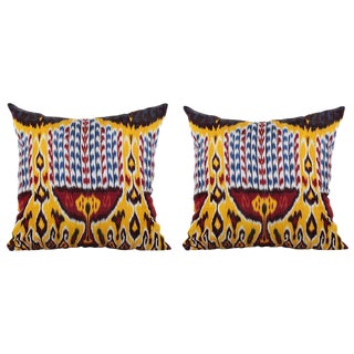 Silk Atlas Ikat Pillows - A Pair