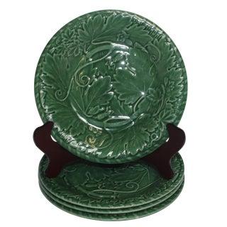 Majolica Green Plates - Set of 4