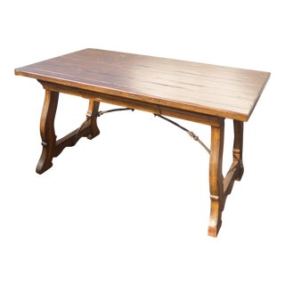 Spanish Style Plank Wood 2-Drawer Trestle Partners Writing Desk With Metal Strecher