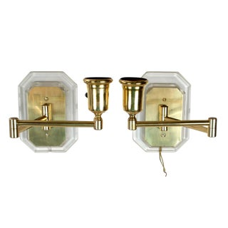 Lucite and Brass Swing Wall Sconces - Pair