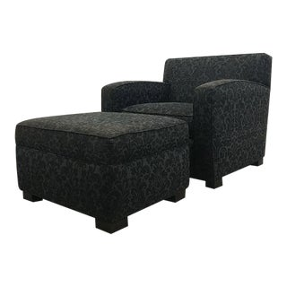 Walter E. Smithe Grey Damask Club Chair and Ottoman