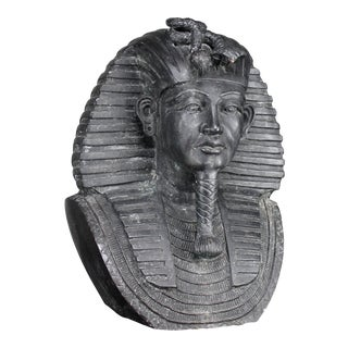 Bronze Egyptian Pharaoh Garden Bust