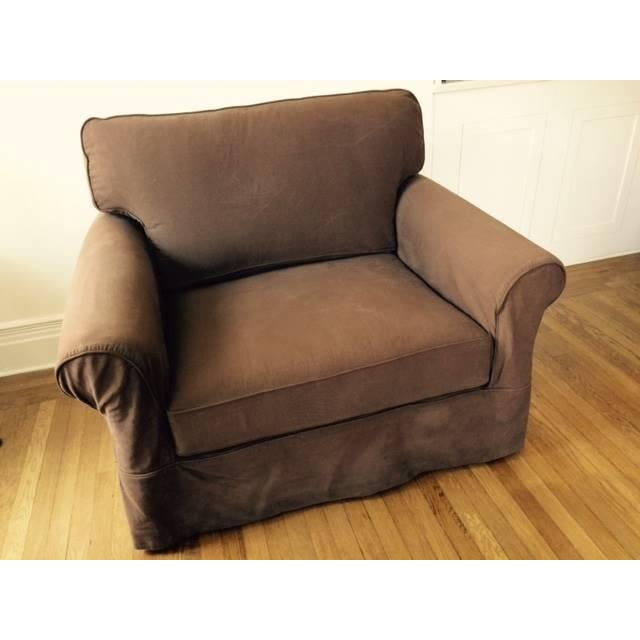 Image of Arhaus Baldwin Brown Slipcovered Chair