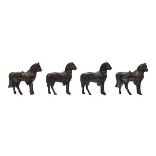 Mini Pot Metal Horse Figurines - Set of 4