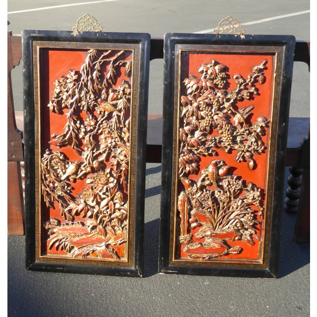 Vintage Asian Red & Gold Gilt Floral Carved Wall Panels- A Pair - Image 5 of 11