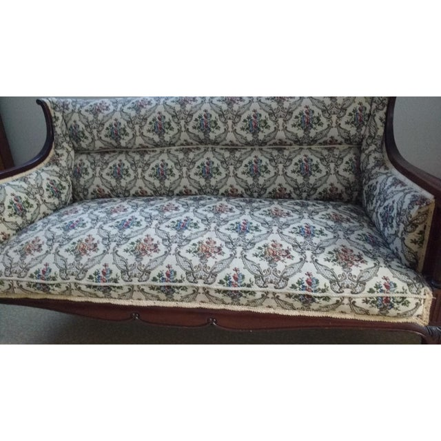 Antique Carved Walnut Settee on Wheels - Image 4 of 6