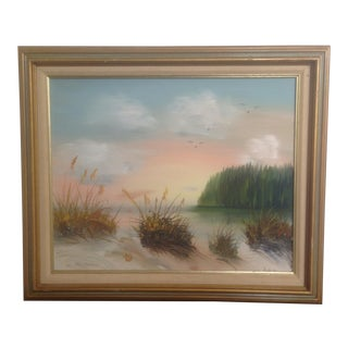 Vintage Seascape Beach Oil Painting