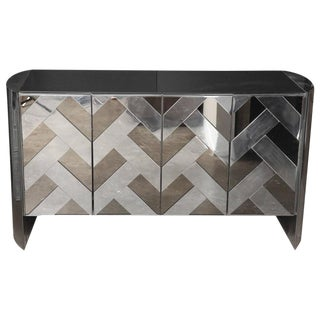Modern Vintage Ello Chrome, Smoked Glass and Mirror Credenza or Sideboard