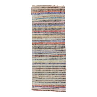 Vintage Striped Colorful Turkish Rag Runner Rug - 3′9″ × 9′9″