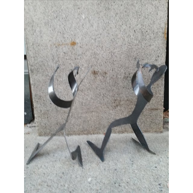 Brutalist Forged Metal Bottle Holders - A Pair - Image 4 of 8
