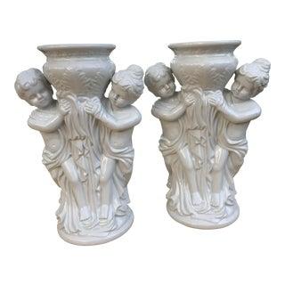 Blanc De Chine Figurine Planters - Pair