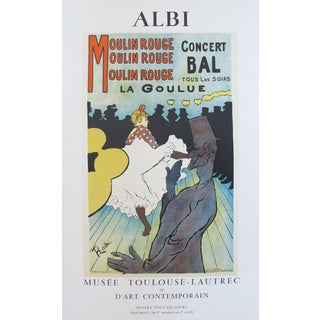 1980s French Toulouse Lautrec Exhibition Poster, Moulin Rouge La Goulue