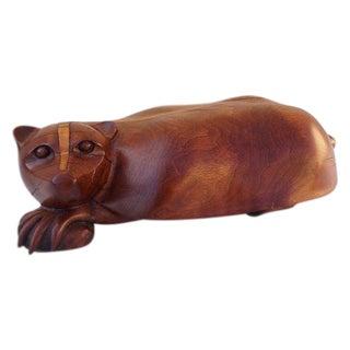 Carved Wood Badger Sculpture