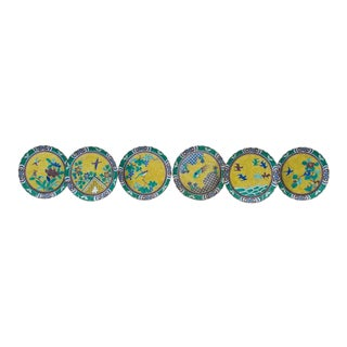 Japanese Porcelain Set of Six Yellow & Green Bird Plates