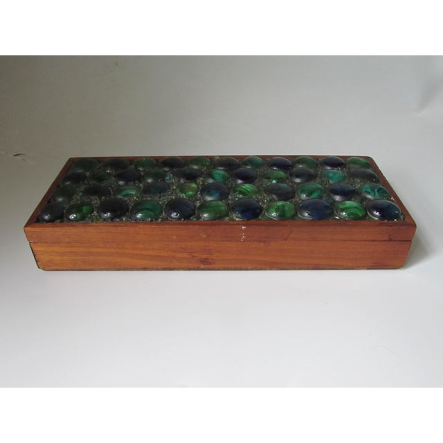 Mid-Century Glass Tiled Wood Box - Image 3 of 10