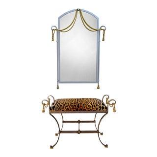 La Barge Brass Tassel Ottoman & Mirror